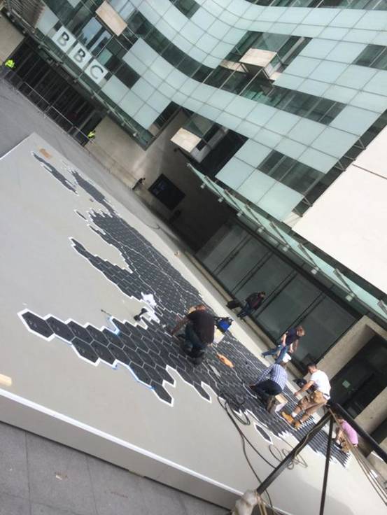 BBC technicians building a version of one of Danny's early maps outside of New Broadcasting House